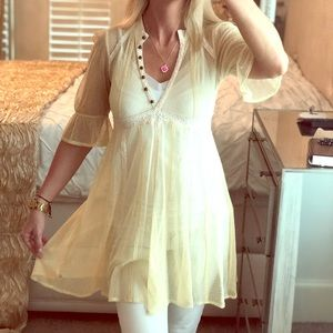 Free People Boho Top Tunic Pale Yellow Polka Dot